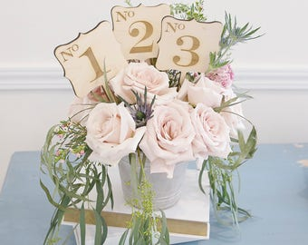 Rustic wedding table numbers on a stick for floral arrangement wood engraved vintage wedding decor for reception table