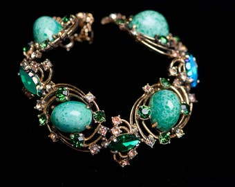 Vintage Signed Schiaparelli Bracelet Green Art Glass Rhinestones Goldtone  Peking Glass
