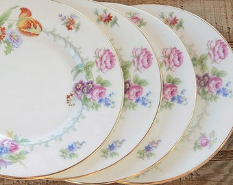 Romantic Minton Berkshire Bread and Butter Plates Set of 4 Made in England Wedding China, Replacement China, Ca. 1944