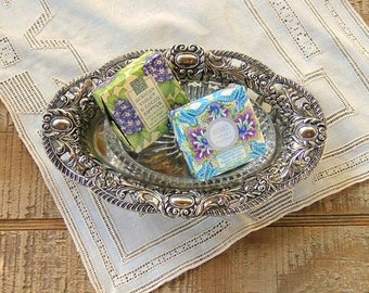 Ornate Silverplate Soap Dish with Glass Insert Shabby Elegance