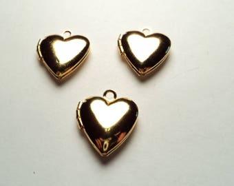 3 pcs - Gold plated Heart mini Lockets - m258hg
