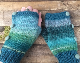 Hand knitted fingerless gloves