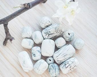 Ceramic bead set_set of 16_primitive porcelain_artisan ceramic beads_white grey gray_marble pattern_eco-friendly beads_nerikomi style