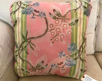 """Watermelon Pink Vines Handmade Pillow and Insert with Vintage Designer Fabric and Trim 19""""x19"""""""