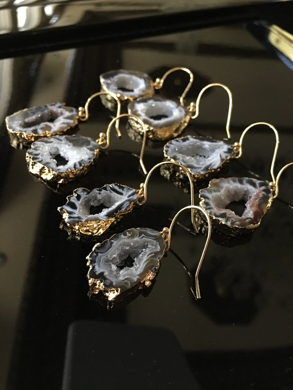 Agate Slice Druzy Earrings , Geode Earrings
