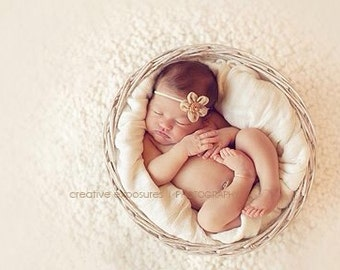 Beige Ballerina Bloom Baby Flower Headband, Newborn Headband, Baby Girl Flower Headband. Photography Prop