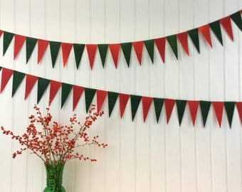 Green & Red Glitter Garland Bunting Decoration Triangle Pendant Eco-fi Felt Earth Friendly 6ft Holiday Birthday Party Child Room Christmas