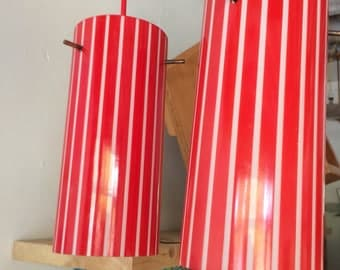 Beautiful Red and White Stripe Vintage Light Shade. Glass, 50's
