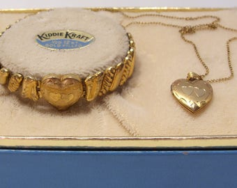 Kiddie Kraft 12 KT Gold Filled Engraved Expansion Bracelet and Heart Locket Pendant Necklace in Original Box