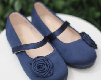 Infant girl shoes, Toddler girl shoes - NAVY Satin mary-jane with satin flower - for flower girls