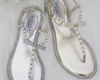 Women Pearls Flat Sandals - GOLD & SILVER METALLIC Patent Pearl/Rhinestones flat sandal. Perfect for brides, bridesmaid gifts, wedding party