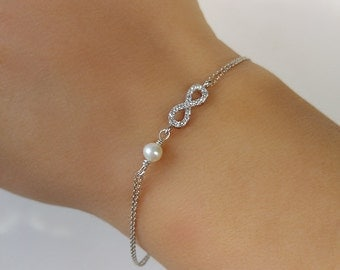 Delicate Zircon Pave Infinity Bracelet With Pearl Sterling Silver Dainty Jewelry Mother Of The Groom Girlfriend Bestfriend Gift For Her