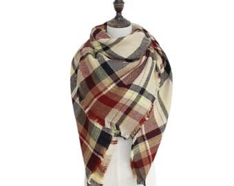 Cinnamon Latte Blanket Scarf, Plaid blanket Scarf, winter scarf, wool blanket scarf, Plaid scarf, tartan scarf, Oversized blanket scarf