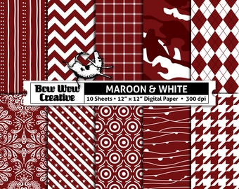 10 maroon, white, digital, paper, scrapbook paper, school colors, team colors, printable, patterns, college, sports, Alabama A&M Bulldogs