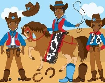 Cowboy Clipart - Digital Vector Wild West, Cowboy, Horse, Western, Cowboy Clip Art