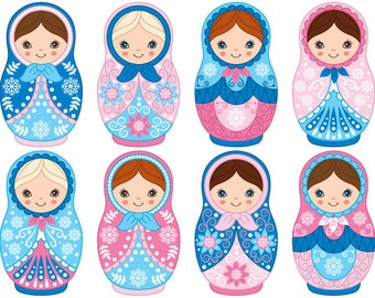 50% OFF SALE Winter Matryoshka Clipart - Digital Vector Matryoshka, Russian, Nesting, Matrioshka Clip Art for Personal and Commercial