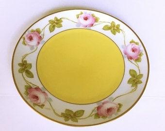 Vintage Bavaria Porcelain Plate, decorative china hand painted, cottage chic style home decor housewares