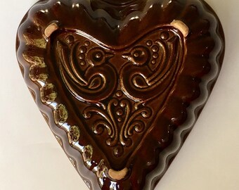 Vintage Stoneware Pottery Heart, wall decor farmhouse style, rustic chocolate brown heart bowl, heart mold. kitchenware