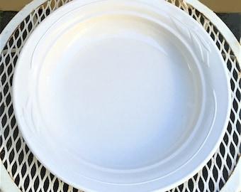 Vintage Corning Casual Elegance Bowl white flora bake ware, 1 quart pasta bowl, round buffet serving bowl, ovenware casserole dinnerware