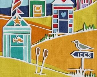 Papercut original art, Beach Huts at the seaside, wall art