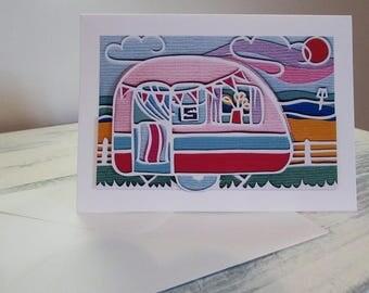 Stripy caravan blank greeting card decoupage card