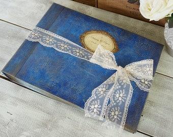 Blue Rustic, Shabby Wedding Guest Book, Rustic Photo album, Personalized Wedding guest book , Custom Wedding Photo Booth album