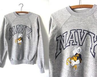 Navy College Vintage Sweatshirt - Soft Heather Grey Throwback University Football Jumper - Mens Small