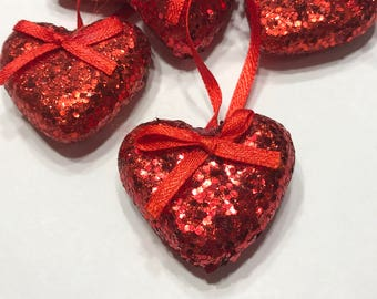 3 glitter heart ornaments, 40 mm (AA1)