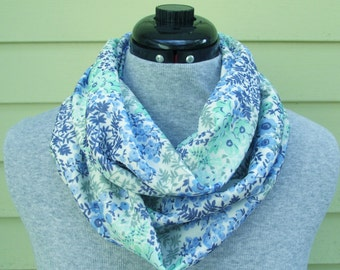 Blue Floral Infinity Scarf - Blue Scarf - Blue Infinity Scarf - Floral Scarf - Circle Scarf - Loop Scarf - Blue - Floral - Scarf
