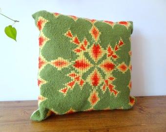 Vintage Handmade Needlepoint Throw Pillow Cushion Green, Yellow, Red, Peach