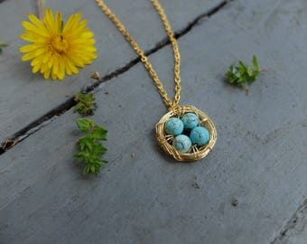 Gold Four Birds Nest; Gold Bird Nest Necklace, Gold Four Bird Nest Necklace; Mother's Day Necklace