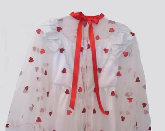 Girl's Queen of Hearts Valentine Sheer cape with Tiara drawstring bag and beads