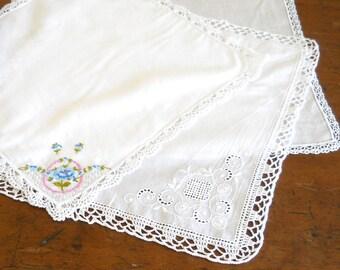 3 antique hankies handkerchiefs antique embroidered handkerchiefs antique ladies hankies vintage white handkerchiefs