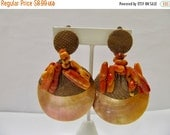 On Sale Retro Hand Made Oversized Shell and Coral Earrings Item K # 2676
