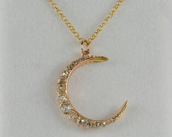Glorious Victorian crescent moon 2.20 Ct old cut diamond necklace