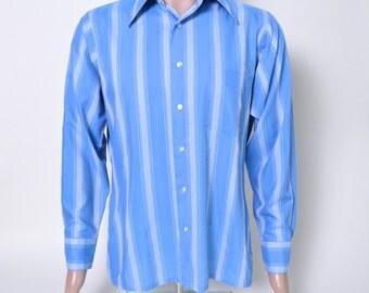 Vintage 1960s 60s Men's shirt Blue and White Stripe Arrow Kent