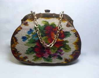 Koret Floral Rose Needlepoint Purse Rare Tapestry Handbag Made In Italy MId-Century Brown Leather Chain Strap