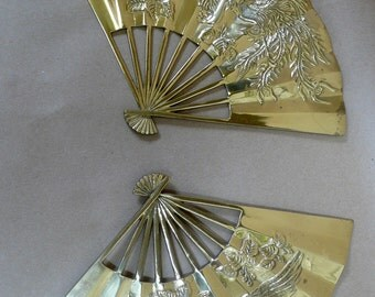 Vintage Solid Brass Hand Fan Asian Fan Set of 2 Brass Chinoiserie Fan Wall Decor Brass Wall Decor