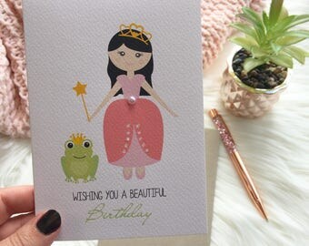 Birthday Card Girl - Princess with a Wand and Frog - HBC209 / Wishing you a beautiful Birthday for the Birthday Girl