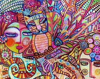 Tree Of Creation Goddess Spirit )( - 18x24 in.- SILBERZWEIG ORIGINAL PAINTING - Angel, Mermaid, Cat, Hearts, Stars, Snake, Fish, Love, Totem