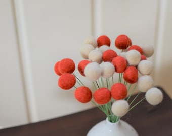 Felt Ball Flower Bouquet - Poppy (Red and Tan) 2 cm wool felted ball craspedia, billy balls, billy buttons, poppy flowers, red decorations