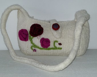 Purse -  with crochet roses