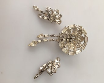 1950s Vintage PIN EARRING SET Rhinestone Brooch Clip On Earrings Dangle Pin Dangle Earrings  Unmarked Weiss New Old Stock