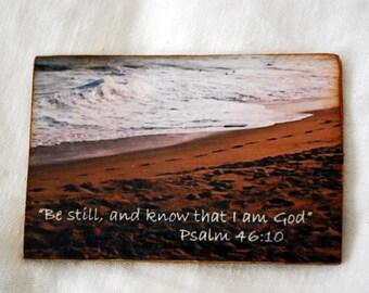 wood photo magnet, beach scene, scripture photo