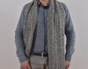 Long Men's Scarf. Hand Knitted Wool Scarf, Luxury Scarves, Grey Scarf,  Gift For Him, Gift Ideas.