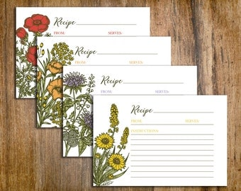 Vintage Floral Recipe Cards : 4x6 Inches, Printable, Four Designs, INSTANT DOWNLOAD