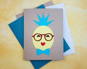 cheeky pineapple handmade paper art greeting card for birthday, anniversary, thank you, just because