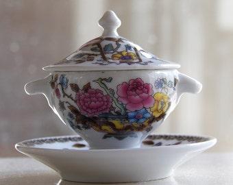 vintage miniature porcelain serving set, floral design, two pieces set, pillbox