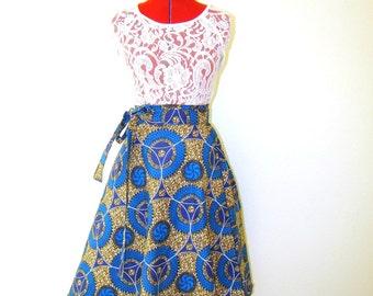 Blue Multicolor Julius Holland African Wax Print Wrap Skirt