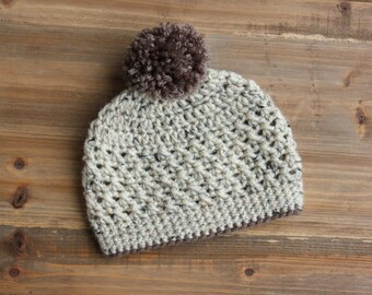 Crochet Oatmeal Baby Hat, Crochet Pom Pom Toddler Hat, Oatmeal and Brown Hat